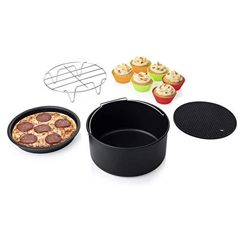 Princess 10-teiliges Zubehör-Set für XL Heißluftfritteuse 3,2 Liter - Topfablage, Pizzablech, Kuchenform, Grillrost, Muffinschälchen, 182011
