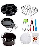 Heißluftfritteuse Zubehör Airfryer Zubehör Set (10 Stücke +20 Kochbuch) -7 Inch, Zubehör für Airfryer Heißluftfritteuse, passend für 3.5QT-3.7QT 5.3QT-5.8QT alle Marken Luftfritteuse