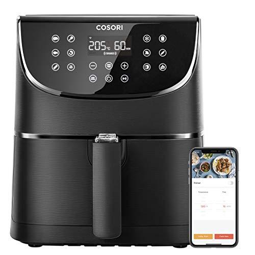 COSORI Smart WiFi Heißluftfritteuse 5,5L XXL Friteuse Heissluft Fritteusen Airfryer mit APP-Steuerung, LED-Touchscreen, 11 Programmen, Vorheizen&Warmhalten, Shake-Modus, 100 Rezeptheft, ohne Öl, 1700W