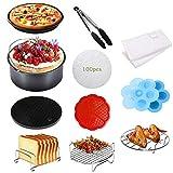 Benooa Zubehör für Airfryer Heißluftfritteusen Set 112PACK, 3.7QT-6.8QT Universal Heißluftfritteuse Zubehör Inklusive Kuchenform/Pizzaform/Mehrzweckständer, für alle Marken von Fritteusen