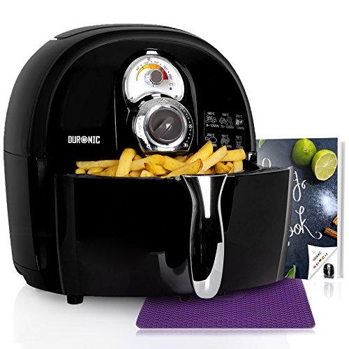 Duronic AF1 /B Heißluftfritteuse/Airfryer/Multifryer/Fritteuse/Heißluft-Fritteuse, 1500 Watt und 2,2L Korb – fettfrei Frittieren, Grillen, Backen + kostenloses Kochbuch mit Rezepten