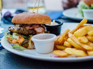 Burger mit Pommes und Mayo